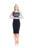 Potomstw, ufnej, pomyślnej i pięknej biznesowa kobieta z t, Zdjęcie Stock
