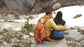 Potomstwa dobierają się obsiadanie na skale, góry w tle zbiory