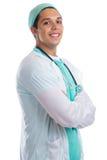 Potomstwa fabrykują portreta zajęcia pracy uśmiechniętą lekarkę ` s kombinezon jest Zdjęcie Stock