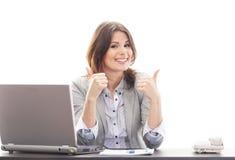 Potomstwa i brunetka szczęśliwy bizneswoman zdjęcie stock