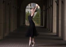 Potomstwa i niesamowicie piękna balerina są pozujący o i tanczący fotografia stock