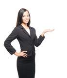 Potomstwa i smartbrunette bizneswoman odizolowywający na bielu zdjęcie stock