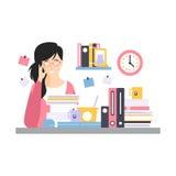 Potomstwa męczyli bizneswomanu charakteru obsiadanie przy biurkiem ma mnóstwo pracę z dokumentami, życie codzienne biuro royalty ilustracja