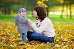 Potomstwa matkują z jej dzieckiem w jesień parku Fotografia Royalty Free