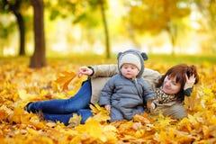 Potomstwa matkują z jej dzieckiem w jesieni Obraz Stock