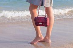 Potomstwa odchudzają seksownej kobiety na plaży Luksusowy handmade snakeskin w ona ręki Obraz Royalty Free