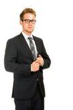 Potomstwa, przystojny biznesowy mężczyzna jest ubranym czarnego kostium Obrazy Stock