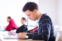 Potomstwa, przystojny męski studenta collegu obsiadanie w sala lekcyjnej folowali Fotografia Stock