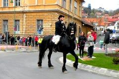 Potomstwa siedzieli na koniu w w centrum Brasov Zdjęcie Stock
