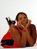 Potomstwa Sortują Na Podłoga Amerykanin Afrykańskiego Pochodzenia Kobiety Zdjęcia Stock