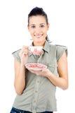 Potomstwa uśmiechali się dziewczyny trzyma teapot obraz royalty free
