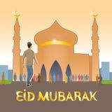 Potomstwa ubierający w europejczyka odzieżowym muzułmaninie iść meczet świętować Muzułmańskiego wakacje ilustracja wektor