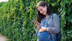 Potomstwo ciężarna dziewczyna patrzeje telefon ubierał w kombinezonach, na zielonym tle Fotografia Stock