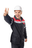 Potomstwo inżyniera krzyki podnosi rękę Obrazy Stock