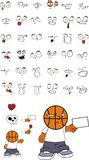 Potomstwo koszykówki głowy dzieciaka kreskówki różani wyrażenia ustawiający Obraz Royalty Free
