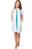 Potomstwo lekarka medyczny ono uśmiecha się, pełny długość portret odizolowywający na bielu Obrazy Royalty Free
