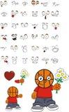 Potomstwo miłości koszykówki głowy dzieciaka kreskówki wyrażenia ustawiający Obrazy Royalty Free