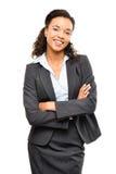 Potomstwo mieszający biegowy bizneswoman z rękami składał ono uśmiecha się odizolowywam Zdjęcia Stock
