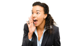 Potomstwo mieszam biegowy bizneswomanu krzyczeć odizolowywam na bielu  Zdjęcia Stock