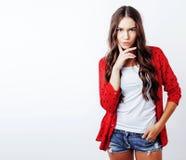 Potomstwo modnisia dosyć elegancka dziewczyna pozuje emocjonalny odosobnionego na w obraz stock