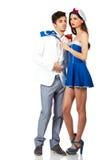 Potomstwo para cieszy się roleplay w żeglarza mundurze Zdjęcia Stock