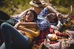 Potomstwo para relaksuje na pyknicznej koc przy oliwki gospodarstwem rolnym obraz stock