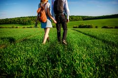 Potomstwo para spaceruje przez greenfield Kobieta i mężczyzna zdjęcia royalty free