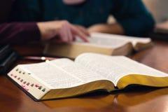 Potomstwo para Studiuje biblię zdjęcia royalty free