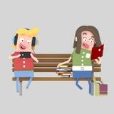 Potomstwo pary czytanie i bawić się gra royalty ilustracja