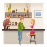 Potomstwo pary data w restauracja Prętowym lub Karczemnym wektorze ilustracji