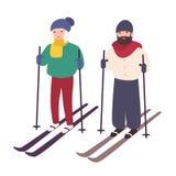 Potomstwo pary narciarstwo wpólnie Szczęśliwy uśmiechnięty mężczyzna i kobieta na nartach Zima sporty i rekreacyjna aktywność kre royalty ilustracja