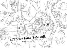 Potomstwo pary rodzina planuje sen życzeń szczęśliwą podróż Ręka rysujący nakreślenie dla dorosłej antistress kolorystyki strony ilustracja wektor