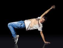 Młody breakdancer na podłoga zdjęcia stock