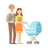 Potomstwo rodzice Chodzi Z spacerowiczem, ilustracja Od Szczęśliwych Kochających rodzin serii Obraz Royalty Free