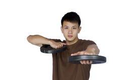 Potomstwo sportów mężczyzna z barbell Fotografia Royalty Free