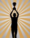 Potomstwo sporta zwycięzca na złota srebra tle Fotografia Royalty Free