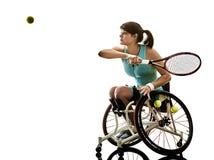 Potomstwo upośledzający gracz w tenisa kobiety wózka inwalidzkiego sport odizolowywający obraz stock