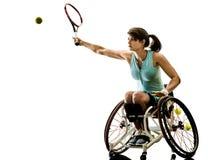 Potomstwo upośledzający koszykowy balowy gracz kobiety wózek inwalidzki bawi się iso Zdjęcia Stock