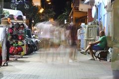 POTOS, ILHA de THASSOS, GRÉCIA - 24 de julho de 2014 tiros da rua na noite com exposição longa Imagem de Stock