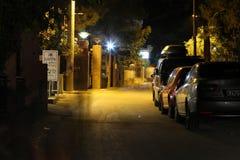 POTOS, ISLA de THASSOS, GRECIA - 24 de julio de 2014 tiros de la calle en la noche con la exposición larga Fotos de archivo libres de regalías