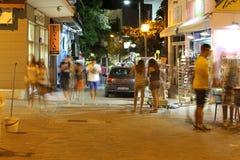 POTOS, ISLA de THASSOS, GRECIA - 24 de julio de 2014 tiros de la calle en la noche con la exposición larga Fotografía de archivo libre de regalías