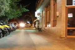 POTOS, ISLA de THASSOS, GRECIA - 24 de julio de 2014 tiros de la calle en la noche con la exposición larga Foto de archivo