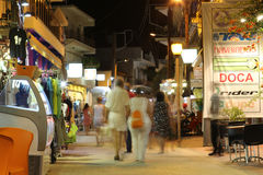 POTOS, THASSOS ISLAND, GREECE - 24 JULY 2014 Street shots in the night with long exposure Royalty Free Stock Photos