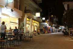 POTOS, THASSOS ISLAND, GREECE - 24 JULY 2014 Street shots in the night with long exposure Royalty Free Stock Photography