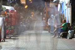 POTOS, THASSOS ISLAND, GREECE - 24 JULY 2014 Street shots in the night with long exposure Stock Photography