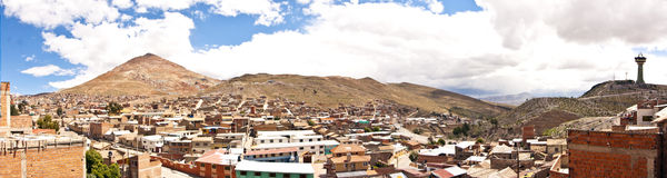 Potosi, Bolivia. Panorama of the colonial town of Potosi, Bolivia, one of the highest cities in the world, with the Cerro Rico mountain on the left Stock Images