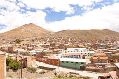 Potosi Perspective. Perspective from Potosi, Bolivia, one of the hightest cities in the world, with the Cerro Rico mountain on the background Royalty Free Stock Photos