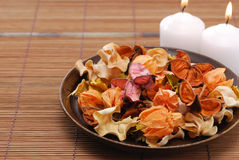 Potpourri. And candle of good smell royalty free stock photo