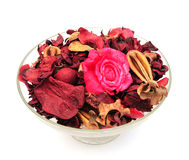 Potpourri. A dish of red and pink scented potpourri royalty free stock photo