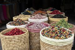 Colorful Potpourri in Baskets in Marrakech medina stock photography